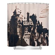 Chateau Fortified By Two Bridges Shower Curtain by Victor Hugo