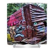 Cheakamus Box Car Graffiti Shower Curtain
