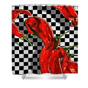 Checker Peppers Shower Curtain by Paul Wear