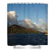 Cheerful Orange Catamaran And Diamond Head - Waikiki - Hawaii Shower Curtain