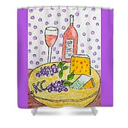 Cheese And Wine Shower Curtain