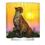 Cheetah And Cubs Shower Curtain by MGL Studio - Chris Hiett