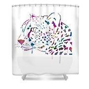 Cheetah Watercolor - White Shower Curtain
