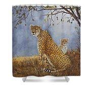 Cheetah With Cub Shower Curtain