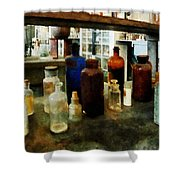 Chemistry - Assorted Chemicals In Bottles Shower Curtain