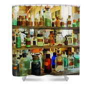 Chemistry - Bottles Of Chemicals Green And Brown Shower Curtain