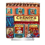 Chenoys Delicatessen Montreal Landmarks Painting  Carole Spandau Street Scene Specialist Artist Shower Curtain