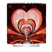 Cherries And Hearts Shower Curtain