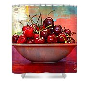 Cherries On The Table With Textures Shower Curtain
