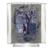 Cherry Blossom Red Abstract Shower Curtain