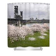 Cherry Blossoms Along Willamette River Shower Curtain