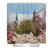 Cherry Blossoms And The Sacred Heart Shower Curtain