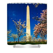 Cherry Blossoms At The Monument Shower Curtain