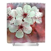 Apple Blossoms In Soft Pink - Digital Paint Shower Curtain