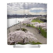 Cherry Blossoms Trees Along Willamette River Waterfront Shower Curtain