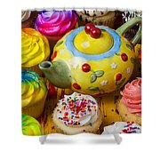 Cherry Teapot And Cupcakes Shower Curtain