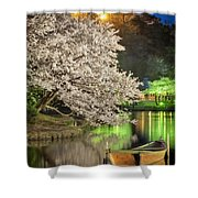 Cherry Blossom Temple Boat Shower Curtain