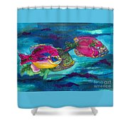 Cherry Toppers Shower Curtain by Kathy Braud