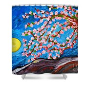 Cherry Tree In Blossom  Shower Curtain by Ramona Matei