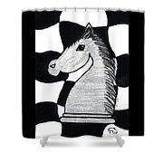Chess Knight Shower Curtain
