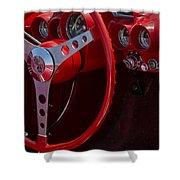 Chevrolet Corvette Red 1962 Shower Curtain