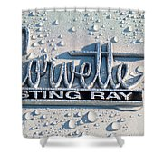 1966 Chevrolet Corvette Sting Ray Emblem -0052c Shower Curtain