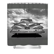 Chevrolet Impala 1959 In Black And White Shower Curtain