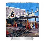Chevron Gas Station At Santa's Village With Reindeer And Carl Hansen Shower Curtain