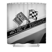 Chevy Corvette 427 Turbo-jet Emblem Shower Curtain by Paul Velgos