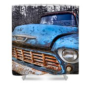 Chevy In The Woods Shower Curtain by Debra and Dave Vanderlaan