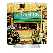 Chez Nick On Greene Avenue Montreal In Summer Cafe Art Westmount Terrace Bistros And Umbrellas Shower Curtain