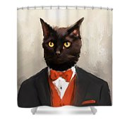Chic Black Cat Shower Curtain