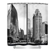 Chicago 333 And The Tower 2 Panel Bw Shower Curtain