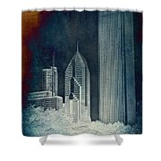 Chicago 4 Tall Shoulders Textured Shower Curtain
