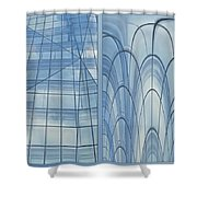 Chicago Abstract Before And After Blue Glass 2 Panel Shower Curtain