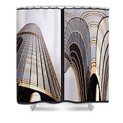 Chicago Abstract Before And After Sunrays On Trump Tower 2 Panel Shower Curtain