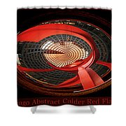 Chicago Abstract Calder Red Flamingo Triptych 3 Panel Shower Curtain