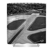 Chicago Airplanes 04 Black And White Shower Curtain