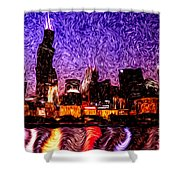 Chicago At Night Digital Art Shower Curtain by Paul Velgos