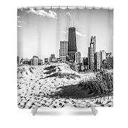Chicago Beach And Skyline Black And White Photo Shower Curtain