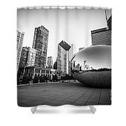 Chicago Bean And Chicago Skyline In Black And White Shower Curtain