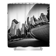 Chicago Bean Cloud Gate In Black And White Shower Curtain by Paul Velgos