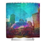 Chicago Bean Skyline Illinois Digital Paint Shower Curtain