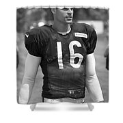 Chicago Bears P Patrick O'donnell Training Camp 2014 Bw Shower Curtain