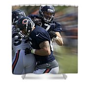 Chicago Bears Te Jeron Mastrud Moving The Ball Training Camp 2014 Shower Curtain