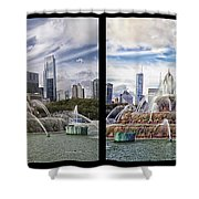 Chicago Buckingham Fountain 2 Panel Looking West And North Black Shower Curtain