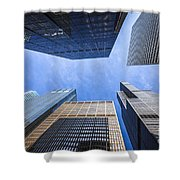 Chicago Buildings Upward View With Willis-sears Tower Shower Curtain by Paul Velgos