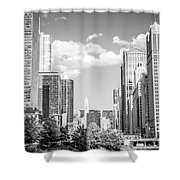 Chicago Cityscape Black And White Picture Shower Curtain by Paul Velgos