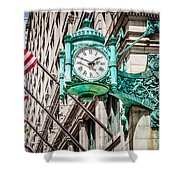 Chicago Clock On Macy's Marshall Field's Building Shower Curtain