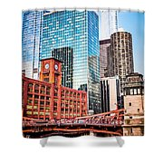 Chicago Downtown At Lasalle Street Bridge Shower Curtain